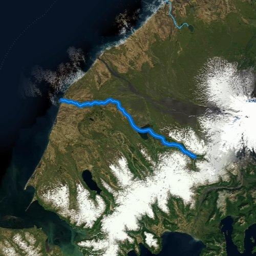 Fly fishing map for Sandy River, Alaska