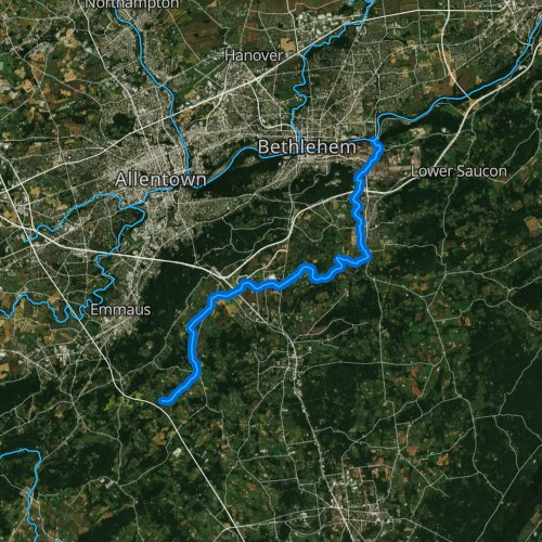 Fly fishing map for Saucon Creek, Pennsylvania