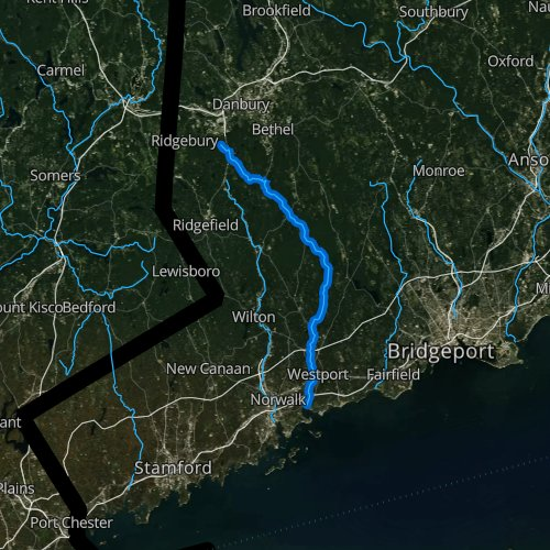 Fly fishing map for Saugatuck River, Connecticut
