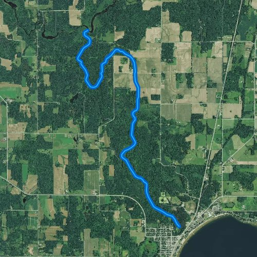 Fly fishing map for Sawyer Creek, Wisconsin