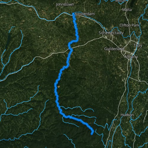 Fly fishing map for Schoharie Creek, New York