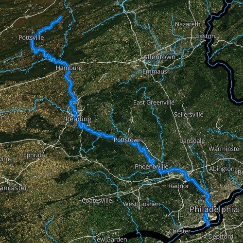Fly fishing map for Schuylkill River, Pennsylvania