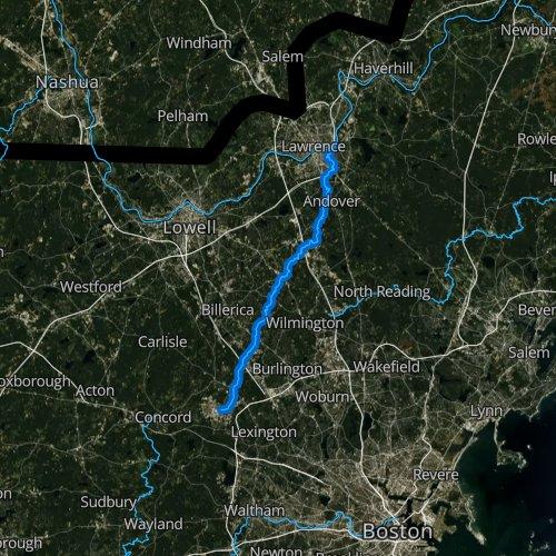 Fly fishing map for Shawsheen River, Massachusetts