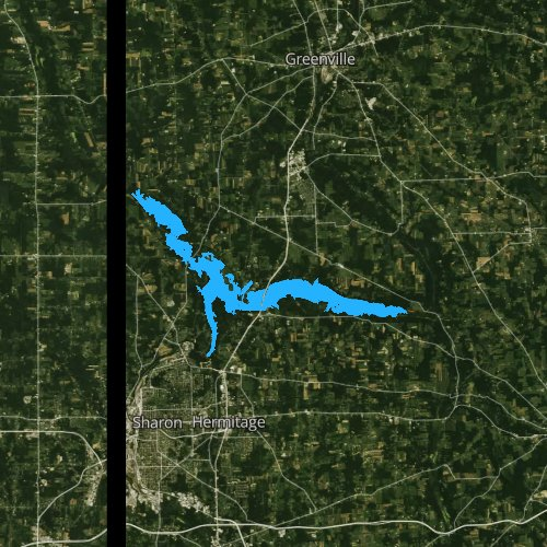 Fly fishing map for Shenango River Lake, Pennsylvania