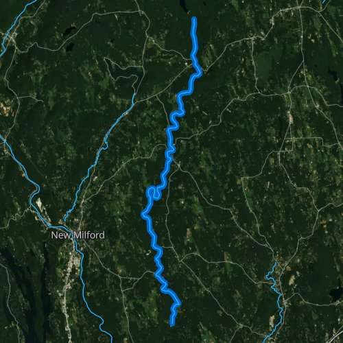 Fly fishing map for Shepaug River, Connecticut