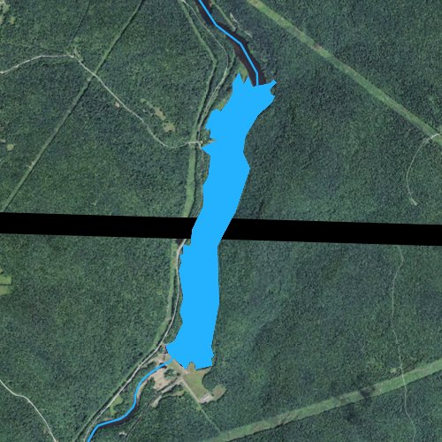 Fly fishing map for Sherman Reservoir, Massachusetts