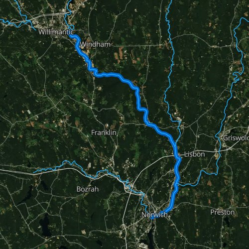 Fly fishing map for Shetucket River, Connecticut