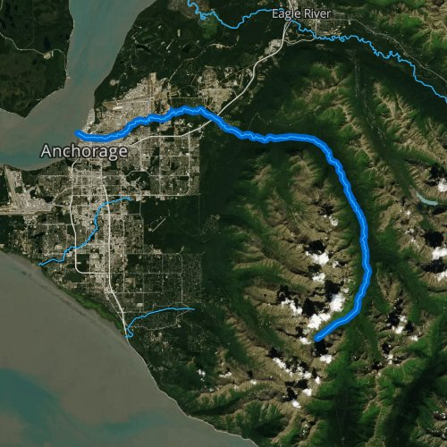 Fly fishing map for Ship Creek, Alaska