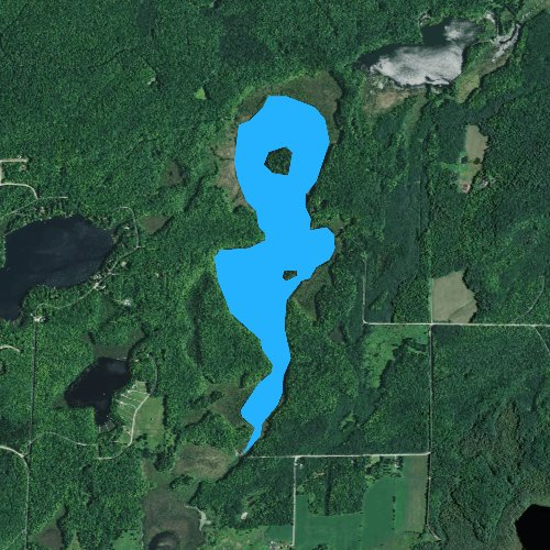 Fly fishing map for Shoe Lake, Wisconsin