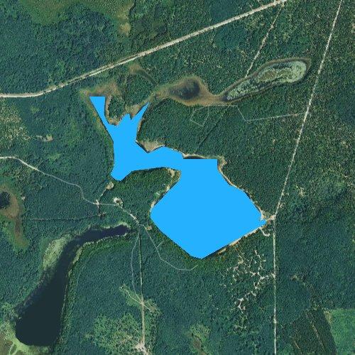 Fly fishing map for Shoepac Lake, Michigan