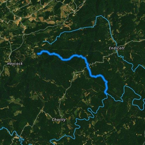 Fly fishing map for Shooting Creek, Virginia