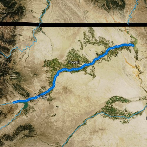 Fly fishing map for Shoshone River, Wyoming