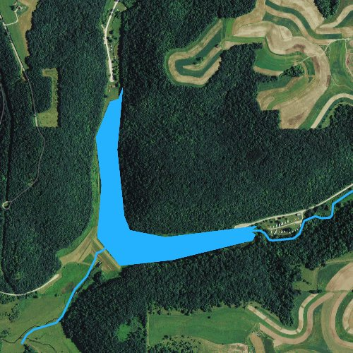 Fly fishing map for Sidie Hollow Lake, Wisconsin
