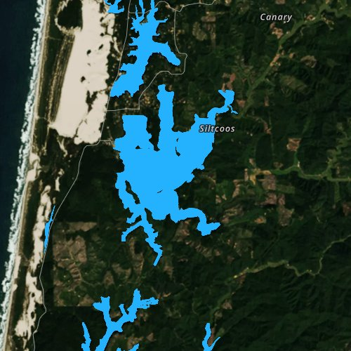 Fly fishing map for Siltcoos Lake, Oregon