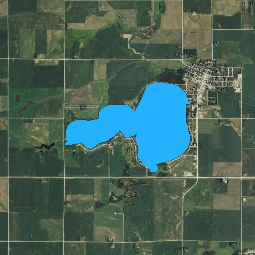 Fly fishing map for Silver Lake: Dickinson, Iowa