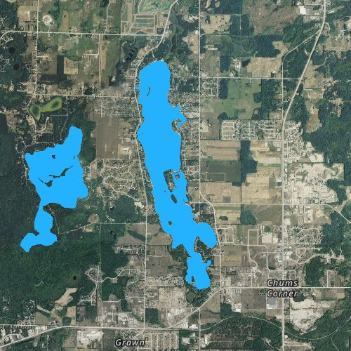 Fly fishing map for Silver Lake: Grand Traverse, Michigan