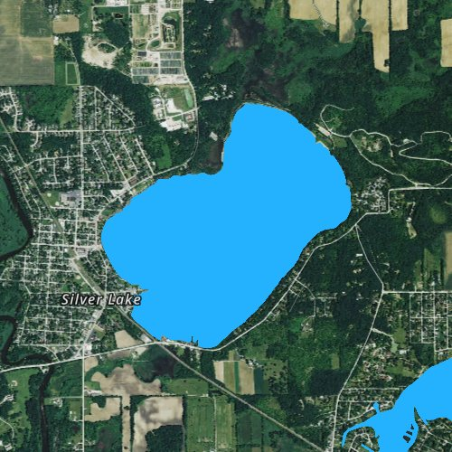 Fly fishing map for Silver Lake: Kenosha, Wisconsin