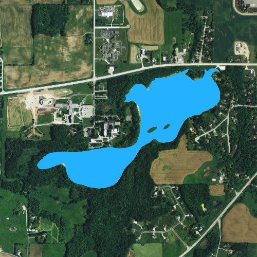 Fly fishing map for Silver Lake: Manitowoc, Wisconsin