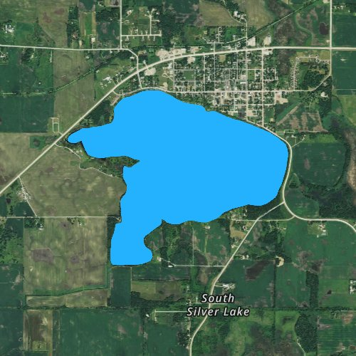 Fly fishing map for Silver Lake: McLeod, Minnesota