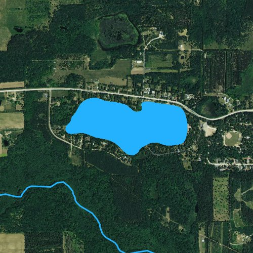 Fly fishing map for Silver Lake: Waushara, Wisconsin