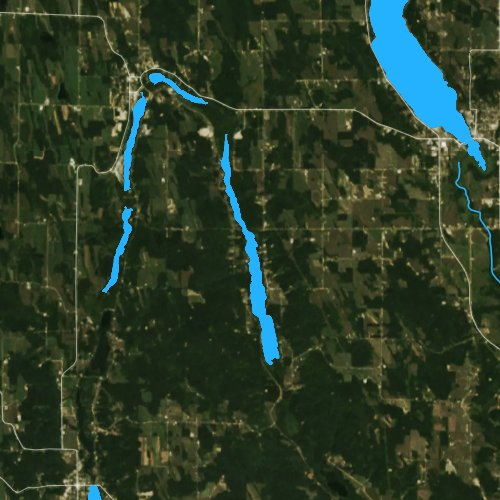 Fly fishing map for Sixmile Lake: Charlevoix, Michigan