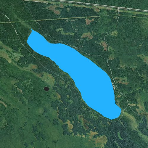 Fly fishing map for Sixmile Lake, Minnesota