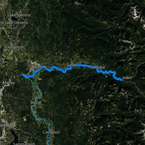 Fly fishing map for Skykomish River, Washington