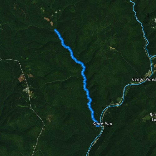 Fly fishing map for Slate Run, Pennsylvania