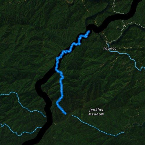 Fly fishing map for Slickrock Creek, North Carolina