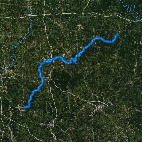 Fly fishing map for Slippery Rock Creek, Pennsylvania
