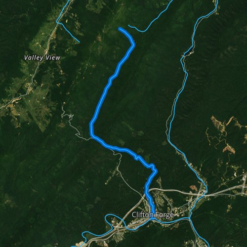 Fly fishing map for Smith Creek: Alleghany County, Virginia