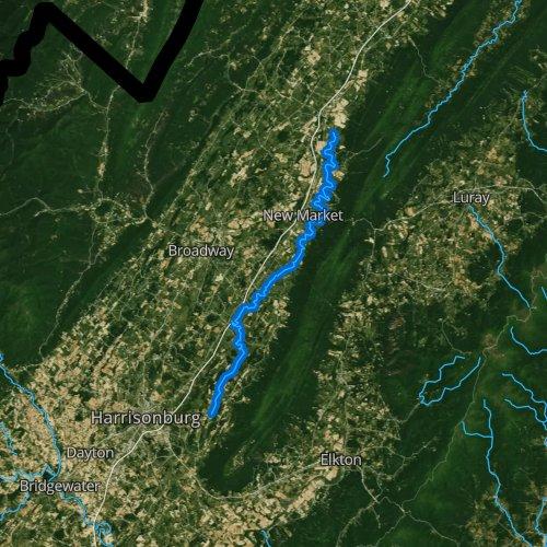 Fly fishing map for Smith Creek: Shenandoah, Virginia