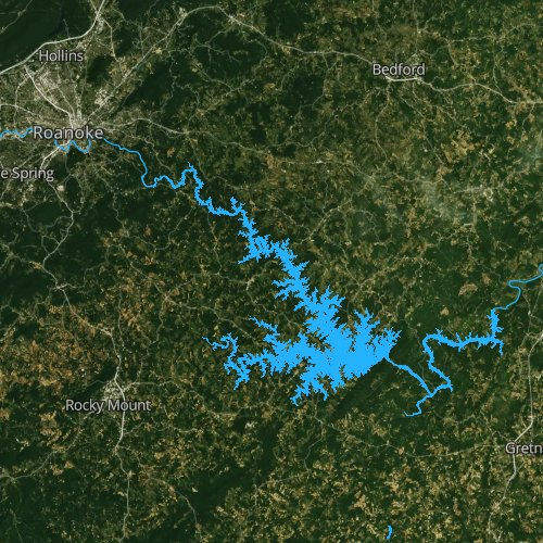 Fly fishing map for Smith Mountain Lake, Virginia
