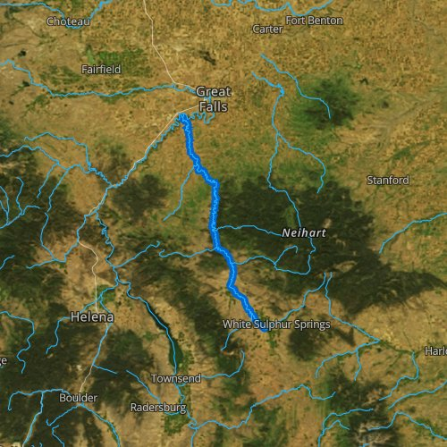 Fly fishing map for Smith River, Montana