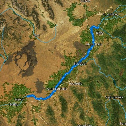 Fly fishing map for Snake River: Main, Idaho