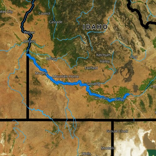 Fly fishing map for Snake River: Middle, Idaho