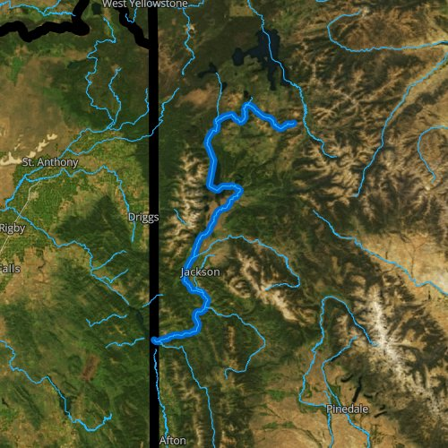 Fly fishing map for Snake River, Wyoming