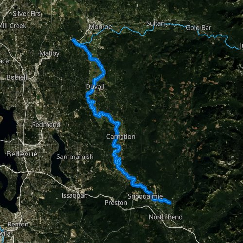 Fly fishing map for Snoqualmie River, Washington