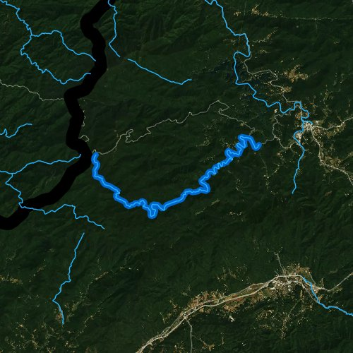 Fly fishing map for Snowbird Creek, North Carolina