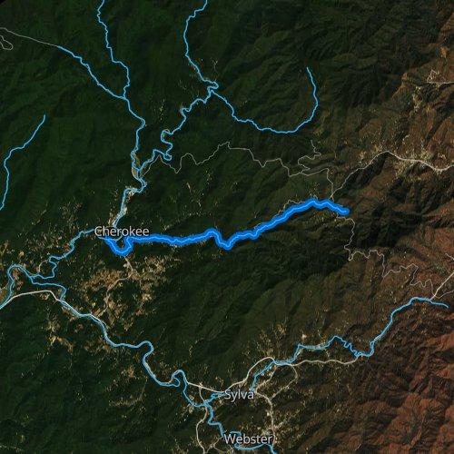 Fly fishing map for Soco Creek, North Carolina