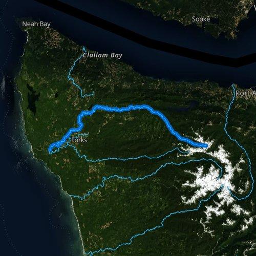 Fly fishing map for Sol Duc River, Washington