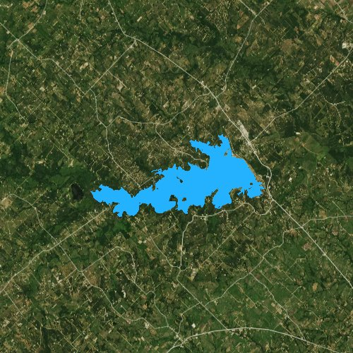 Fly fishing map for Somerville Lake, Texas