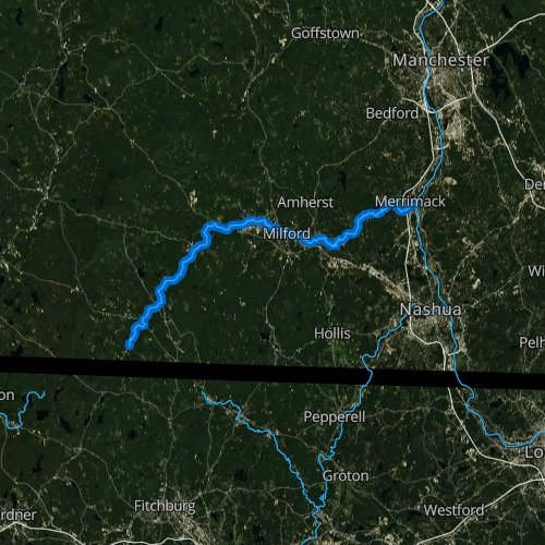 Fly fishing map for Souhegan River, New Hampshire