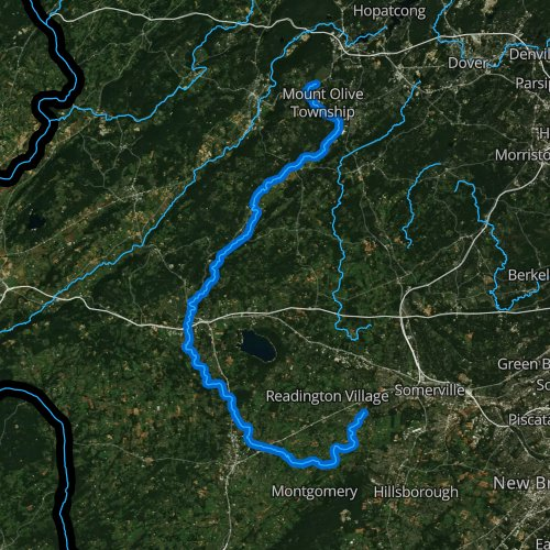 Fly fishing map for South Branch Raritan River, New Jersey