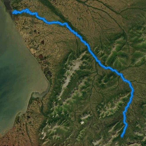 Fly fishing map for South Fork Arolik River, Alaska
