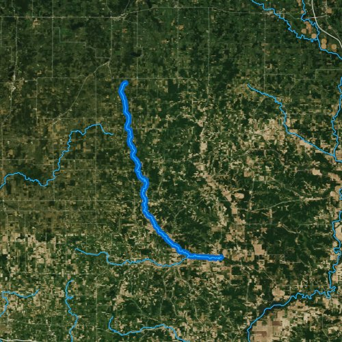 Fly fishing map for South Fork Hay River, Wisconsin