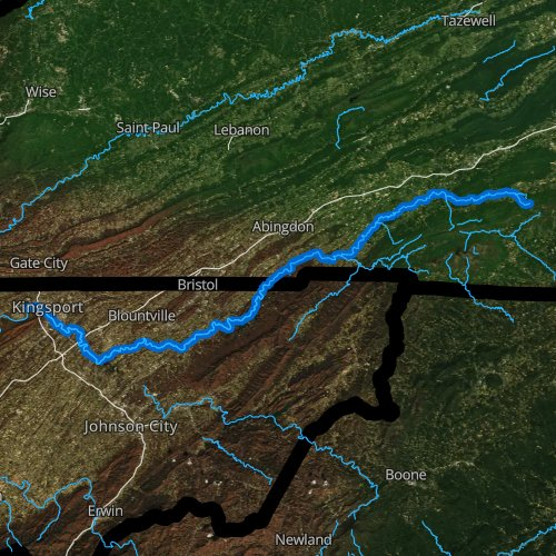 Fly fishing map for South Fork Holston River, Virginia