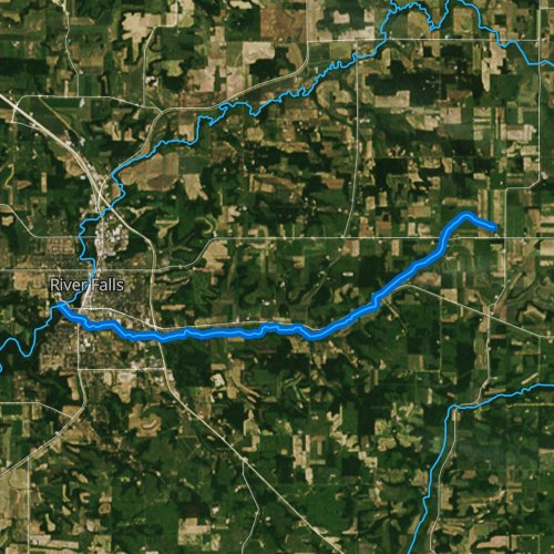 Fly fishing map for South Fork Kinnickinnic River, Wisconsin