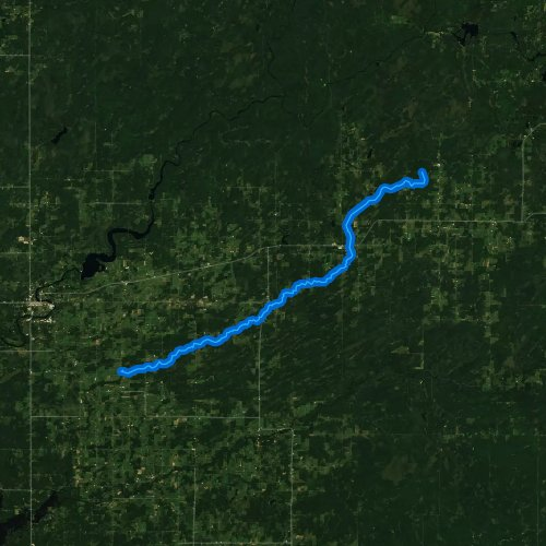 Fly fishing map for South Fork Main Creek, Wisconsin