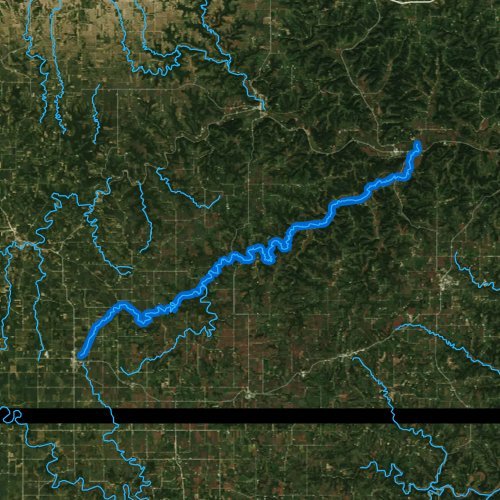 Fly fishing map for South Fork Root River, Minnesota
